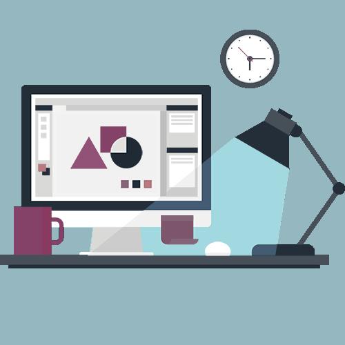 Grafikdesign, Printdesign - Computer, Schreibtisch, Lampe